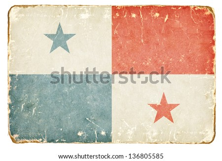 Vintage flag of Panama. - stock photo
