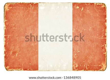 Vintage flag of Peru. - stock photo
