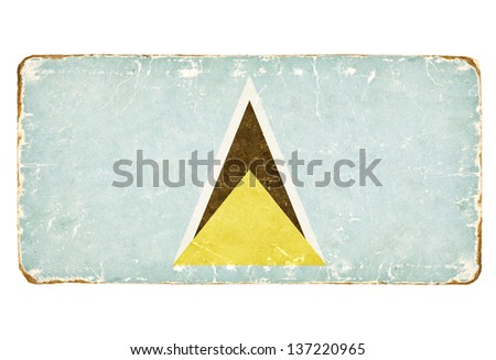 Vintage Flag of Saint Lucia. - stock photo