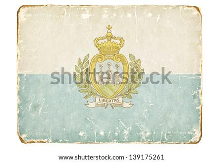 Vintage flag of San Marino. - stock photo