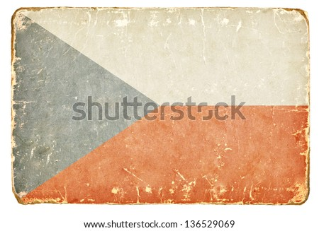 Vintage flag of the Czech Republic. - stock photo