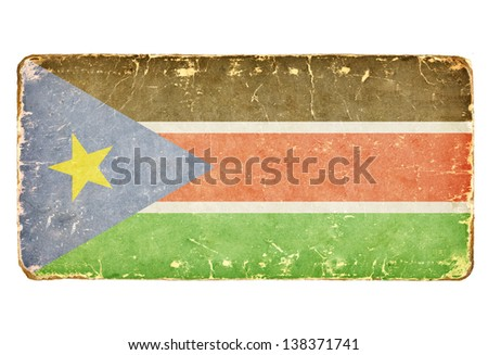 Vintage Flag of the Republic of South Sudan. - stock photo