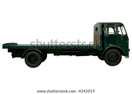 Vintage flatbed lorry, isolated on white. - stock photo