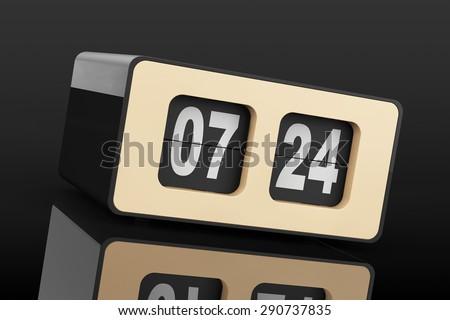 Vintage Flip Clock on a black background. 3d rendering - stock photo