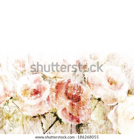 Vintage floral background. Watercolor floral bouquet. Birthday card. - stock photo
