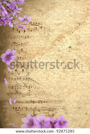 Vintage floral background with musical notes - stock photo