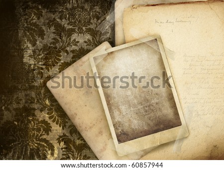 Vintage floral background with old papers and photo - stock photo