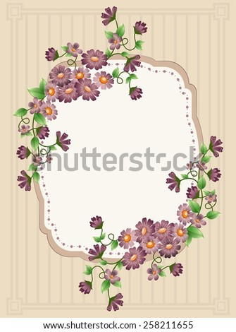 Vintage floral background with space for text. - stock photo