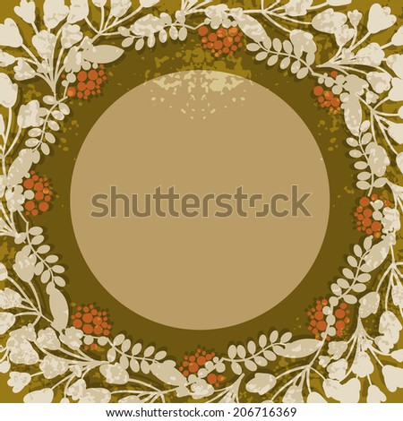 Vintage floral circular frame or cartouche with central copyspace surrounded by delicate twigs of blossom  foliage  and red berries in sepia tones illustration - stock photo