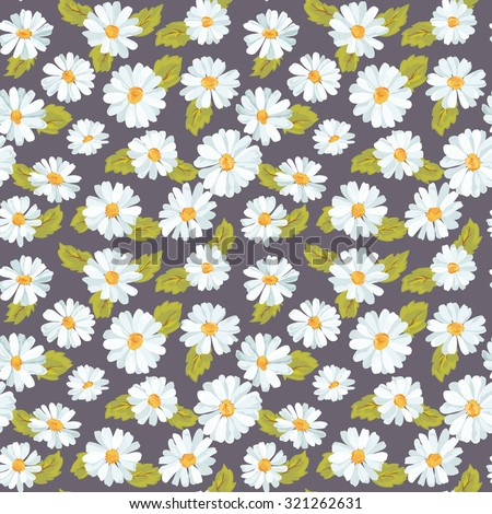 Vintage Floral Daisy Background - seamless pattern for design, print, scrapbook - stock photo