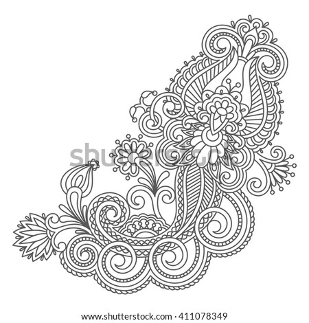 Vintage floral decorative element for design, print, embroidery. Raster version. - stock photo