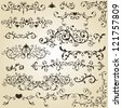 vintage floral  design elements on gradient background - stock photo