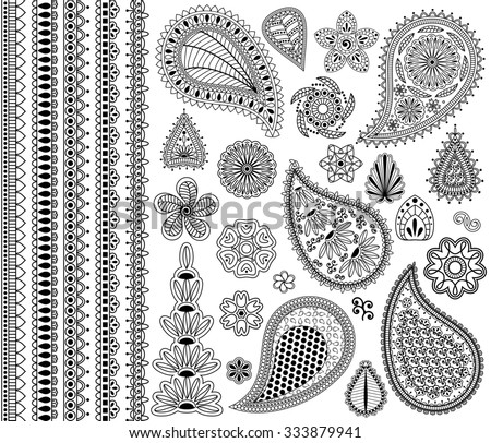Vintage floral doodle elements. Flowers, paislies and five seamless borders. - stock photo