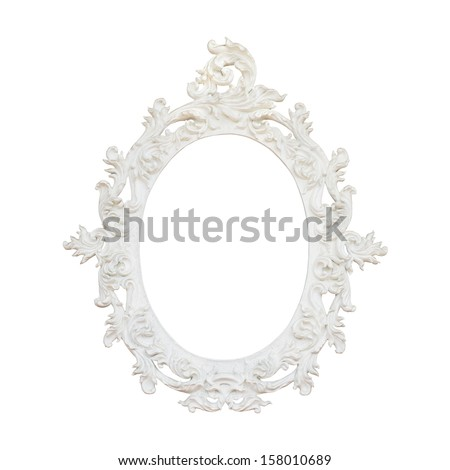 Vintage floral frame isolated on white background  - stock photo