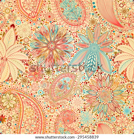 Vintage floral motif ethnic seamless background. Abstract lace pattern. Hand drawing colorful wallpaper.