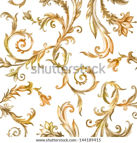 vintage floral pattern, watercolor painted ornament - stock photo
