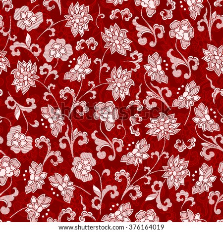 Vintage floral raster seamless pattern with hand-drawn dahlia flowers.