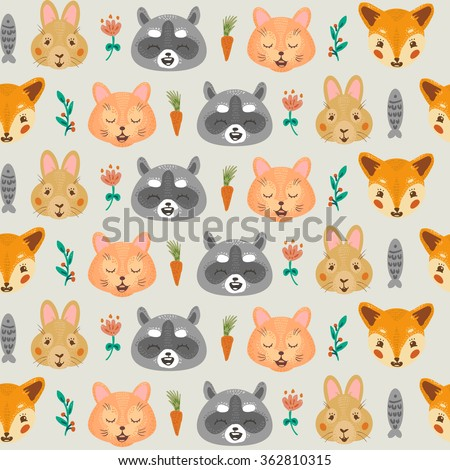Vintage floral seamless illustration pattern with animals: raccoon, rabbit, cat and fox. Background with twigs and flowers, carrots, fish.
