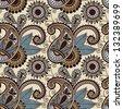 vintage floral seamless paisley pattern, raster version - stock vector