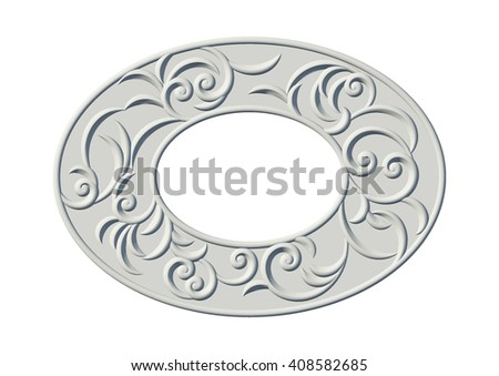 Vintage floral swirl oval ornamental frame. 3d plaster pattern with curl pattern - stock photo