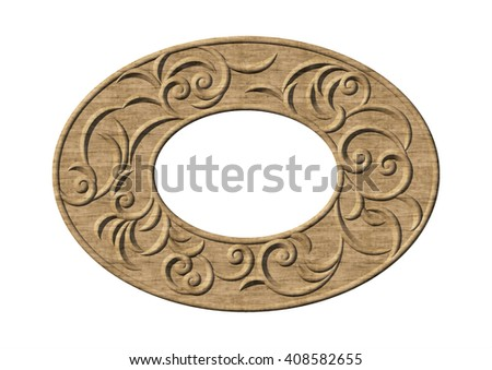 Vintage floral swirl oval ornamental frame. 3d wood pattern with curl pattern - stock photo