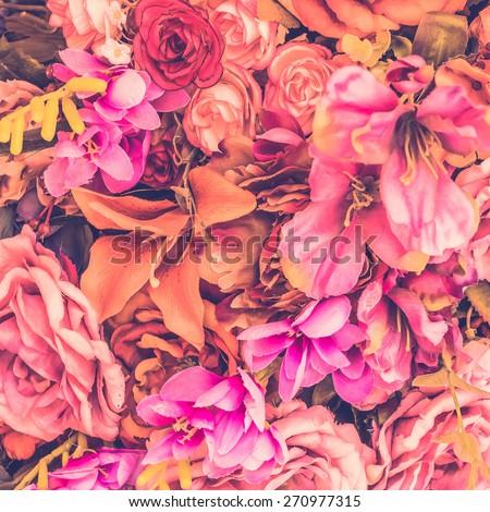 Vintage flower background - vintage filter - stock photo
