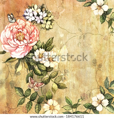 Vintage flowers on vintage background. Hand painting. Illustration for greeting cards, invitations, and other printing projects. - stock photo