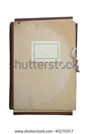vintage folder for paperwork with blank label isolated