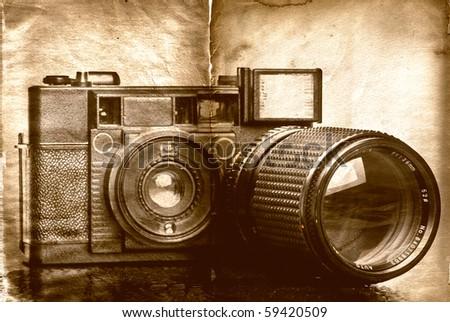Grunge Camera Effect : Vintage folding camera grunge texture scratches stock photo