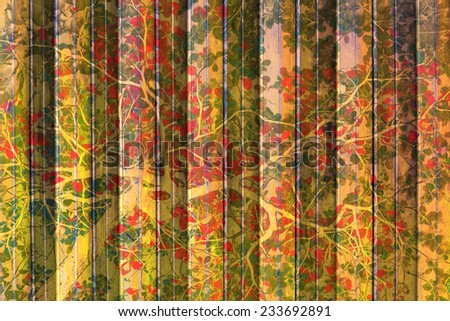 Vintage Forest Concept art and tree branch in door texture background.