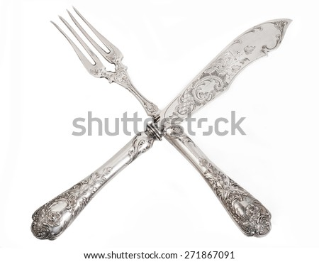 vintage fork and knife - stock photo