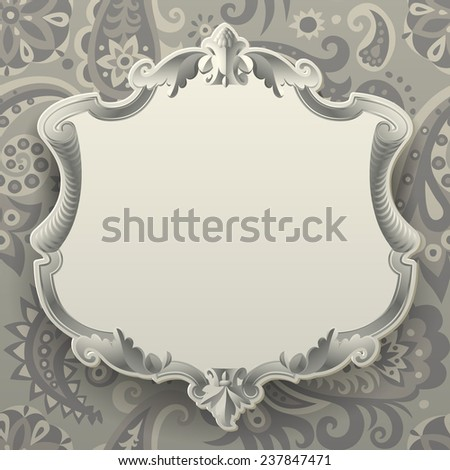 Vintage frame against a  decorative seamless pattern background - stock photo