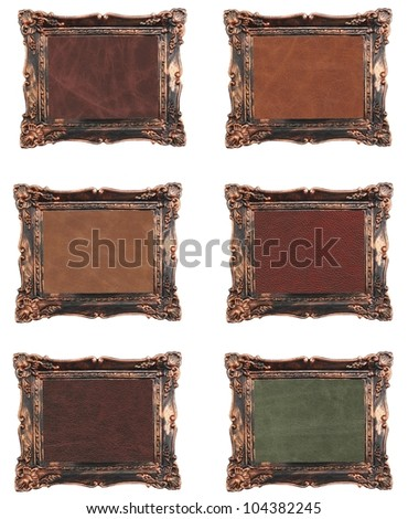 vintage frame elite leather background. - stock photo