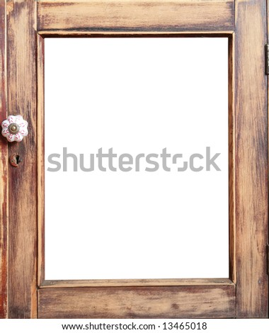 vintage, frame from door of the old-time closet after restoration with copy-space - stock photo