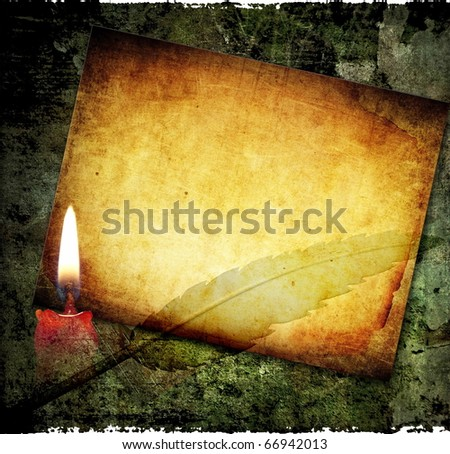 Vintage frame, grunge background with candle and paper - stock photo