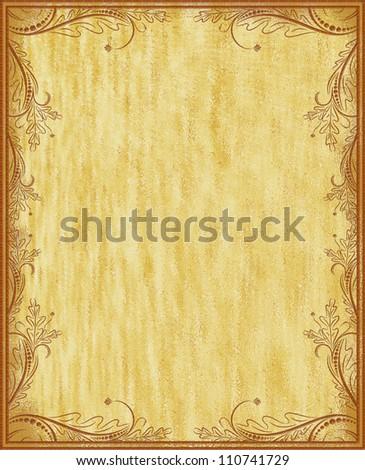 Vintage frame on aged background - stock photo