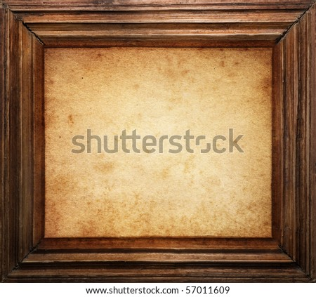 vintage frame on old wall - stock photo
