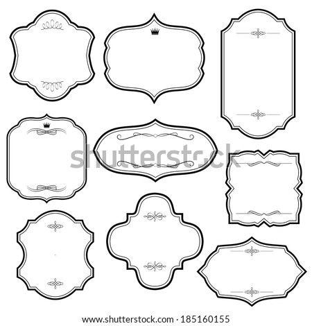Vintage frame set isolated on white. Raster copy. - stock photo