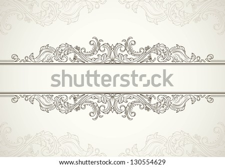 Vintage frame template for text in antique style. Raster version - stock photo