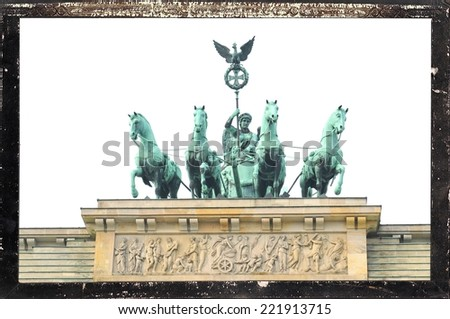 Vintage frame with architectural detail of the Brandenburger Tor in Berlin, Germany - stock photo
