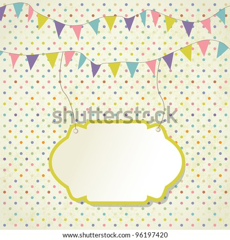 Vintage frame with floral branch and small hearts. Jpeg version - stock photo