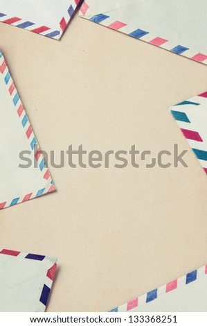 Vintage frame with old envelops - stock photo