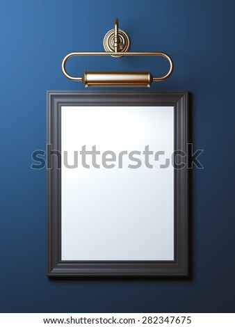 Vintage frame with old lamp - stock photo