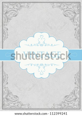 Vintage framed background with label. Raster version, vector file available in portfolio.