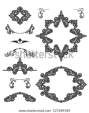 Vintage frames and design elements isolated on white, decorative set. Vector version available in my portfolio - stock photo