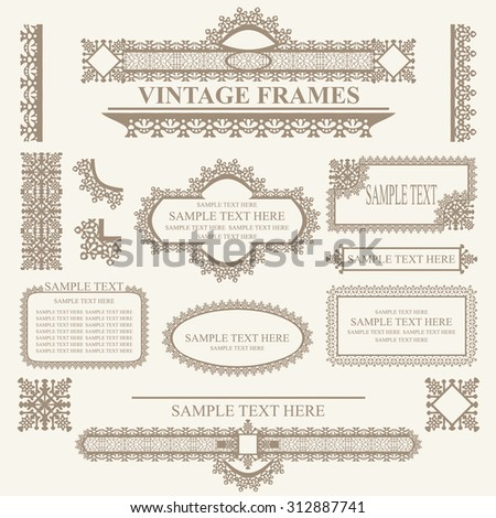 Vintage frames and design elements - with place for your text. raster version