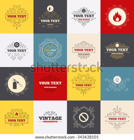 Vintage frames, labels. Fire flame icons. Fire extinguisher sign. Prohibition stop symbol. Scroll elements.  - stock photo