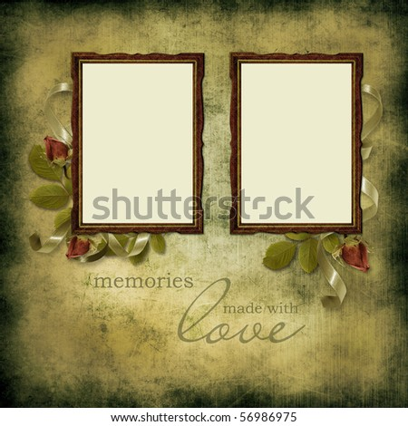 vintage frames on old grunge background - stock photo
