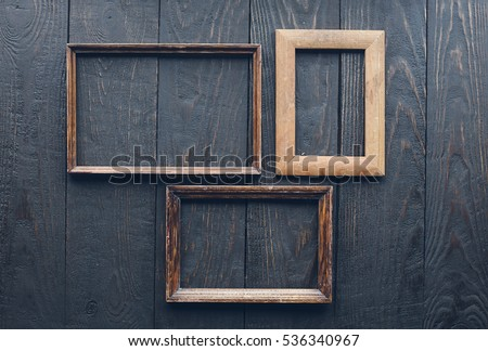 Vintage Frames On Old Wooden Wall Stock Photo & Image (Royalty-Free ...