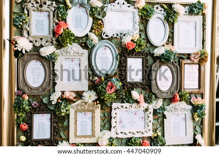 Vintage frames with the list of the wedding guests